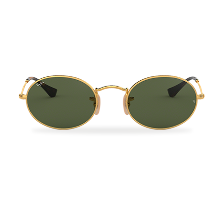 Ray-Ban OVAL FLAT LENSES Gold with Green Classic G-15 lens