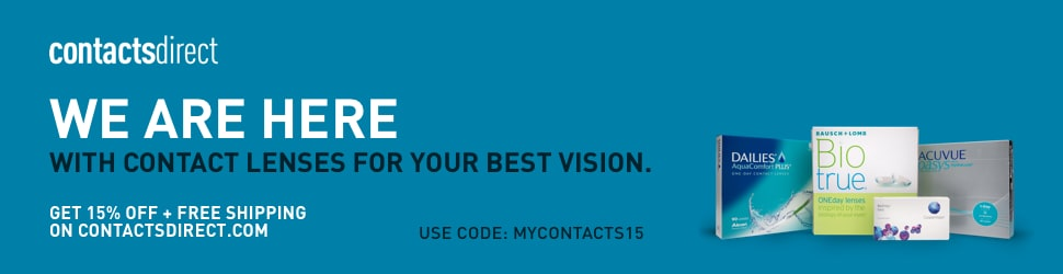 Banner Promo Optical Lens on ContactsDirect web site